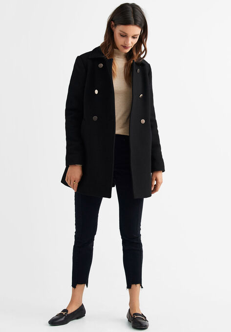Gold Button A-line Wool-Blend Coat by ellos®