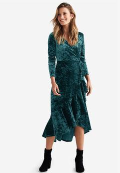 Selina Velvet Wrap Midi Dress by ellos®,