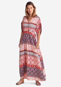 Harper Fit & Flare Maxi by ellos®, PEACH MULTI PRINT