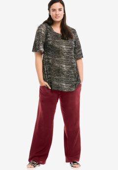 Linen Blend Wide Leg Pants by ellos®, MERLOT