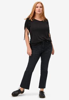 Crop Bootcut Jeans, BLACK