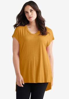 High/Low V-Neck Tee by ellos®,