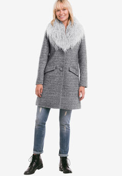 Tweed Faux Fur Coat by ellos®,