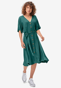 Button-Front Tie-Waist Shirtdress by ellos®,