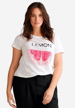 Embellished Scoop Neck Tee by ellos®, WHITE LEMON