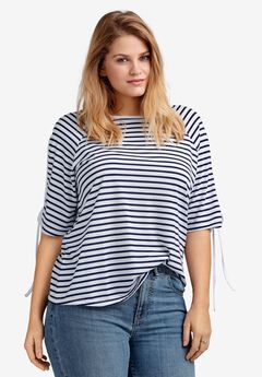 Slit-Sleeve Knit Top by ellos®, WHITE NAVY STRIPE