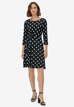 Side-Tie Knit Dress by ellos®, BLACK WHITE DOT