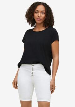 Button-Front Denim Shorts, WHITE