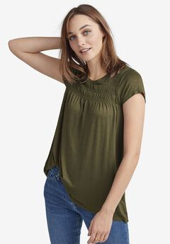 Smocked Tunic by ellos®, BURNT OLIVE