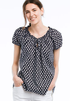 Keyhole Neckline Peasant Blouse by ellos®, NAVY/WHITE PRINT