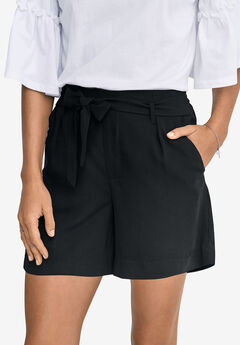 Tie-Front Flowy Shorts by ellos®, BLACK