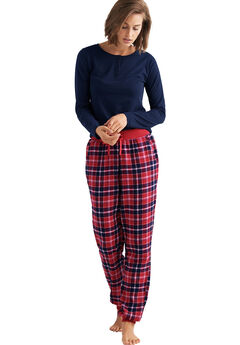 Plaid Flannel Sleep Pants by ellos®, POPPY RED NAVY PLAID