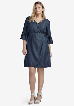 Tencel Denim Wrap Dress by ellos®,