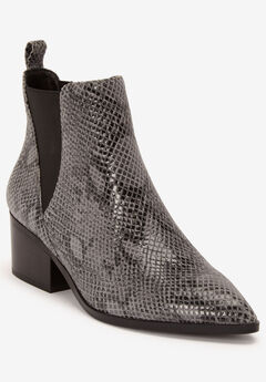 Pointed Toe Leather Bootie,