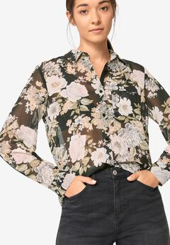 Sheer Button-Front Blouse,