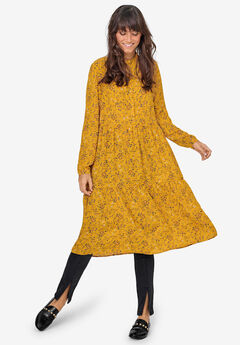 Tiered Midi Dress by ellos®, HONEY MUSTARD FLORAL