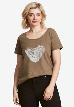 Love Ellos Tee by ellos®, BURNT OLIVE HEART