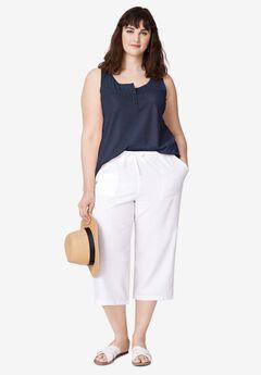 Linen Blend Drawstring Capris by ellos®, WHITE