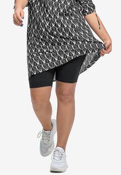 Stretch Knit Bike Shorts, BLACK