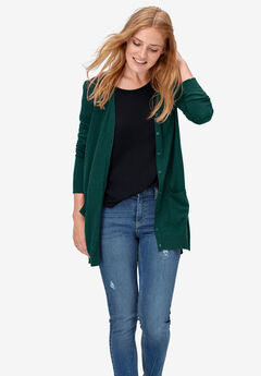 Boyfriend Cardigan by ellos®, EMERALD GREEN