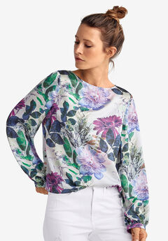 Blouson-Sleeve Satin Blouse by ellos®, PEARL GREY FLORAL