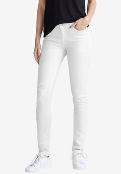 Distressed Skinny Jeans, WHITE