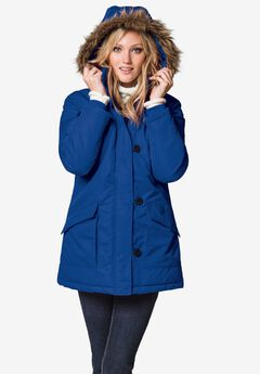 Faux Fur Trim Parka, MARINE BLUE