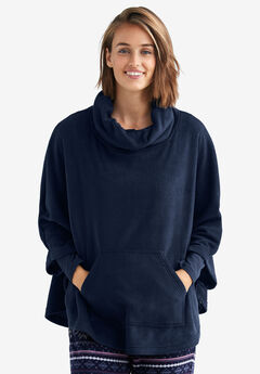 Cowl Neck Fleece Poncho by ellos®, NAVY