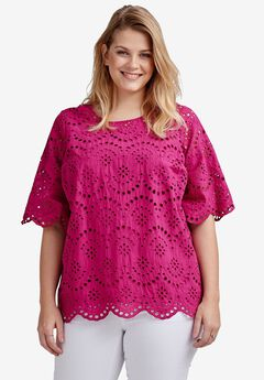 Scalloped Hem Eyelet Blouse by ellos®,