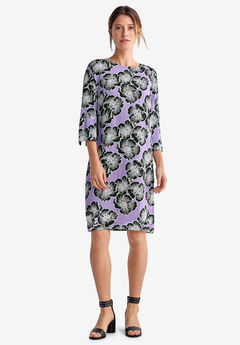 Slit-Sleeve Shift Dress by ellos®, SWEET LAVENDER FLORAL