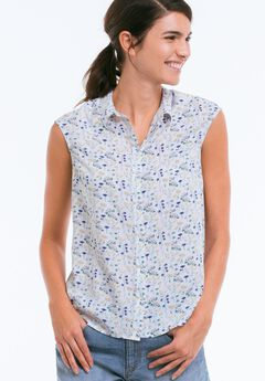 Sleeveless Button Front Blouse by ellos®, FLORAL PRINT