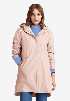 Snap-Front Raincoat by ellos®, LILAC GREY
