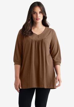 Stitch Neck 3/4 Sleeve Tunic by ellos®,