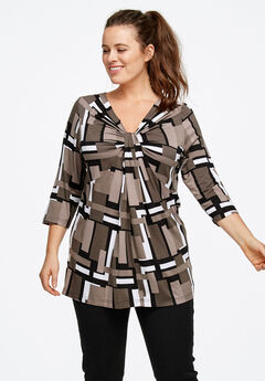 Twisted Knot-Front Tunic by ellos®, BLACK WHITE PRINT