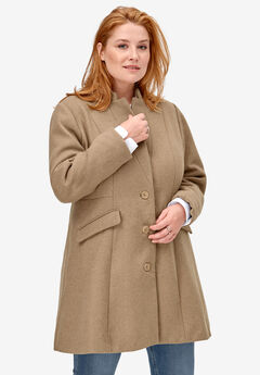 Fit & Flare Wool Coat by ellos®, SAND DUNE