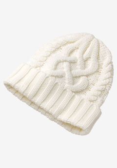 Cable Knit Hat by ellos®, IVORY