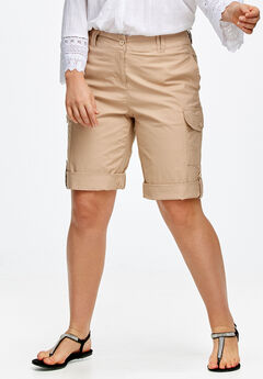 Convertible Cargo Shorts by ellos®, NEW KHAKI