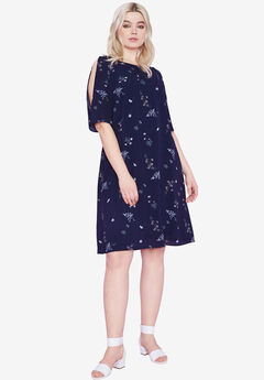 Cold-Shoulder Dress by ellos®, NAVY FLORAL PRINT