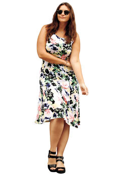 Fit and Flare Knit Dress by ellos®, MULTI FLORAL