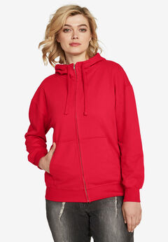 Zip-Front Fleece Hoodie by ellos®,