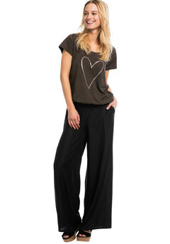 Wide-Leg Soft Pants with Back Elastic by ellos®, BLACK