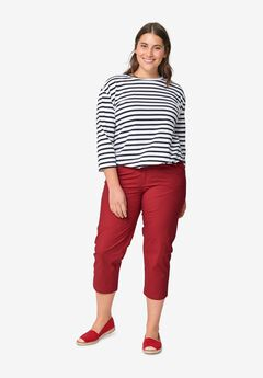 Seamed Capris by ellos®, CHILI RED