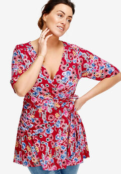Printed Wrap Tunic by ellos®, RED FLORAL PRINT