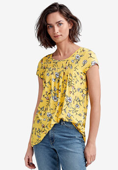 Smocked Tunic by ellos®, PRIMROSE YELLOW FLORAL