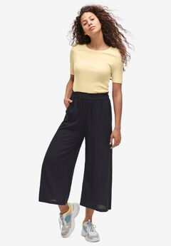 Wide-Leg Crop Pants, BLACK