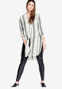 Long Button-Front Tunic by ellos®, WHITE DARK CHARCOAL STRIPE