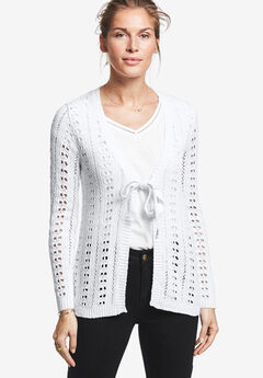 Tie-Front Crochet Cardi by ellos®, WHITE