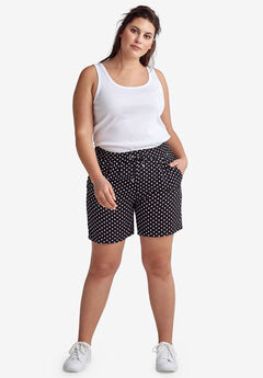 Woven Drawstring Shorts by ellos®, BLACK WHITE DOT