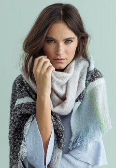Textured Plaid Fringe Scarf by ellos®,