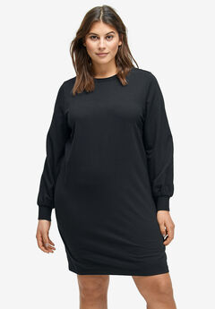 Blouson Sleeve French Terry Dress by ellos®, BLACK